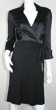 Diane Von Furstenberg DVF Black Silk Satin Wool 3/4 Sleeve Wrap Dress 6 S SM