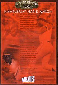 Hank Aaron--2001 Wheaties Cereal Box Back Panel