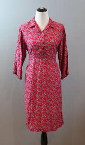APRIL CORNELL Sz L Large 100% Rayon Pink Purple Floral Shirt Dress