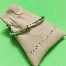 DAVID YURMAN Cable Classics Single-Station Bracelet Blue Topaz & 14K Gold NEW