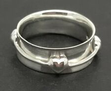 Spinner heart ring, Solid Sterling Silver, UK Size O, New.