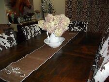 "Handmade Brown Burlap Table/Buffet Runner 69.5"" x 11.5"" Sewn Edges/Painted LOVE"