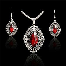 Fashion Women Wedding Silver Jewelry Set Crystal Necklace Earrings Rhinestone