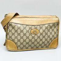 GUCCI Vintage GG Pattern PVC Canvas Leather Crossbody Shoulder Bag JUNK