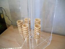 ACRYLIC PERSPEX ICE CREAM CONE HYGIENE CABINET COUNTER DISPLAY RACK STAND