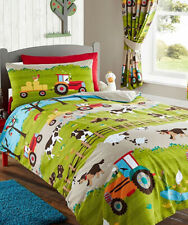 farm toddler / cot bed duvet cover with Tractors, Sheep, Cows and dogs