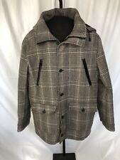 Marc Ecko Cut and Sew Plaid Men's L Coat with Hood