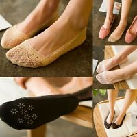 Fashion Women Invisible Liner Cotton Lace Flower Low Cut Antiskid Ankle Socks n