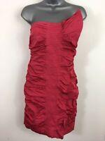 WOMENS KAREN MILLEN PINK STRAPLESS RUFFLED ROUCHED BODYCON PARTY DRESS UK 10