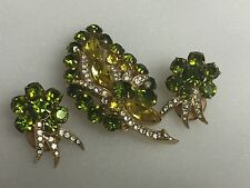 Eisenberg ice Green Yellow Rhinestones Signed Brooch & Clip on Earrings Set
