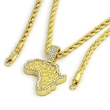 "Mens 14k Gold Plated Hip-Hop Iced Cz Nugget Africa 30"" Rope Chain Necklace"