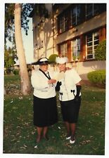 Vintage 80s PHOTO Pair Black Women in Black & White Dressy Outfits w/ Hats