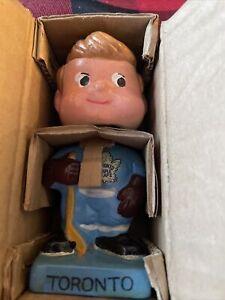 60's Toronto Maple Leaf Bobble Head Bobbin Nodder Doll Mascot Hockey NHL MIB COA