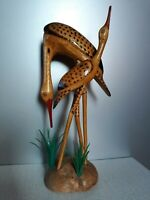 USSR wood carving statue Wooden Herons,  height 29 cm