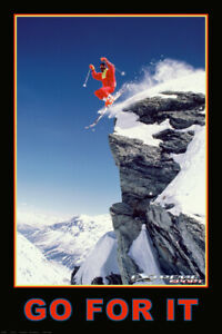Skiing in Powder Jumping GO FOR IT Motivational Sports Action 24x36 Wall POSTER