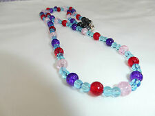 Handmade Ladies Jewellery Red Purple Crackle Beads & Glass Necklace - 23 inch