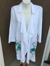 Chico's Long White Floral Embroidered Jacket Size 2 L Large 12 14