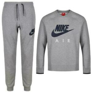 NIKE AIR AW77 HERITAGE CREW NECK TRACKSUIT GREY MENS SIZES