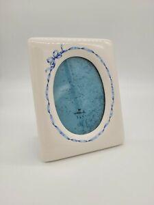 "Vintage Hallmark Ceramic White Oval Picture Frame Blue Ribbon for 3.5""x5"" Photo"
