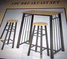 3-Piece Black Metal Table Oak Bar Stool Breakfast Dining Nook Set Counter Height