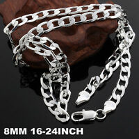 16-24inch 925 Silver fashion NOBLE women men 8MM chain classic Necklace JEWELRY