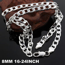 925 Sterling Silver fashion NOBLE women men 8MM chain classic Necklace JEWELRY