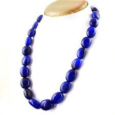 Earth Mined Blue Sapphire 549.00 Cts Oval Shape Beads Single Strand Necklace
