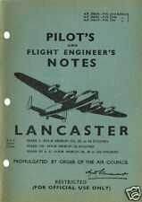 PILOT+FLIGHT ENG NOTES: LANCASTER WWII BOMBER 62pps + FREE 2-10 PAGE INFO PACK