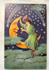 Lot 3 Christmas Holiday Cards 2 Antique Reproduction Postcards,1 Blank Card,Lady