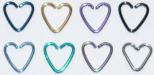 HEART DAITH TITANIUM COATED STEEL CARTILAGE  RING HELIX TRAGUS PIERCING 1.2MM
