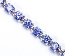 "10 CARAT BEST SELLER! ROUND TANZANITE  .925 Sterling Silver Bracelet 7"""
