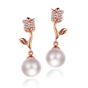 14K Rose Gold 8mm Round Cut 100% Genuine Pearls 0.2CT Diamonds Elegant Earrings