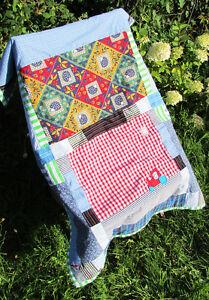 Handmade Hedgehog Patchwork Original Quilt Blanket Newborn Baby Gift Christening