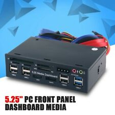 5.25'' PC Front Panel Dashboard Media USB 3.0 Hub Audio eSATA SATA Card Reader