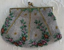 Antique Floral Glass Micro Bead Change Purse