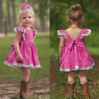 Toddler Babys Girls Kids Lace Sundress Princess Party Beach Wedding Casual Dress