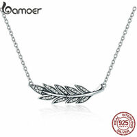 BAMOER 925 Sterling silver Necklace A branch of leaves Pandent For Women Jewelry
