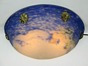 Vintage Glass Quarter Globe Wall Scone Lamp Elegant Blue on White ?Movie Theater