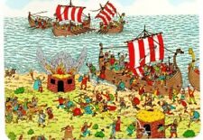 "Where's Wally? novelty postcard. ""On Tour With The Vikings"""