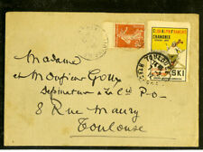 France 1912 Hotel Cover Rare Ski Label Tied to Cover