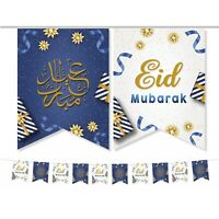 Eid Mubarak Bunting (Blue, Gold & White) Eid Party Decorations Flags Set 2021 AG