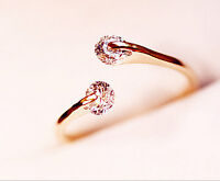 New & Fashion Women Rose Gold Plated Crystal Bridal Engagement Ring Size
