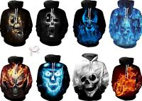 New Blue Fire Skull Cool Hoodie Ghost Rider Sweatshirt Pullover 3D Print S-6XL