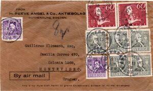 SWEDEN: Airmail cover Göteborg to Uruguay 1939,  Scarce destination