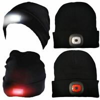 Adults Mens Womens Pro Climate Knitted Beanie Hat with 2 Dual LED Lights Black