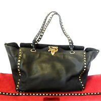 Valentino Garavani Gold-tone Rockstud Medium Black Calfskin Leather Tote