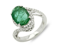 Women's Natural Mined Emerald & Diamond 3.26 tcw 14k SOLID Gold