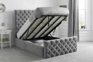 Plush & Crushed Velvet Florida Gas Lift Storage Bed Frame Available in All Sizes