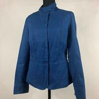 Talbots Blue Solid Turtleneck Fitted Blazer Jacket Long Sleeve Womens Size 8