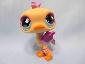 Littlest Pet Shop Ostrich Bird Yellow Purple with Blue Eyes 516 Authentic Lps